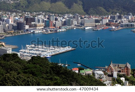 Downtown Wellington from Mount Victoria - stock photo