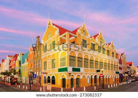 Downtown Willemstad at twilight, Curacao, Netherlands Antilles - stock photo