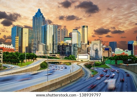 Downtowntown Atlanta, Georgia Skyline. - stock photo