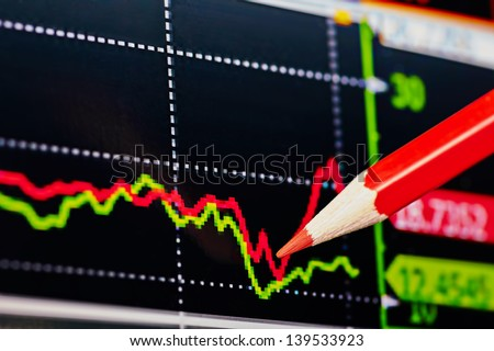 Downtrend financial chart with the red pencil. Selective focus - stock photo