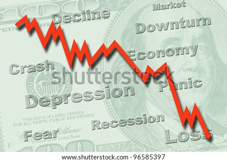 Downtrend graph on a US hundred dollar note, indicating economy recession - stock photo
