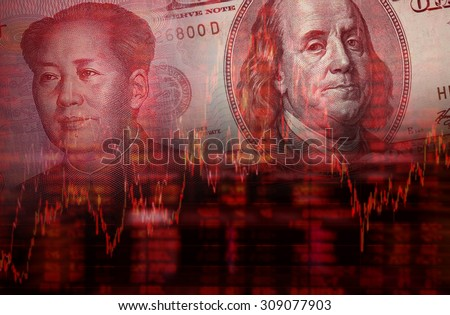 Downtrend stock diagram, Face of Mao Zedong on RMB (Yuan) 100 bill, With Face of Benjamin Franklin from one hundred dollars bill - stock photo