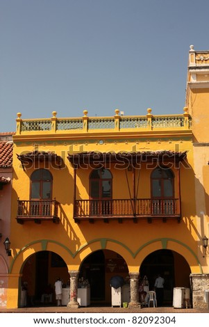 Dowtown of Cartagena de Indias, spanish colonial style. In 1984, Cartagena's colonial walled city and fortress were designated a UNESCO World Heritage Site. - stock photo