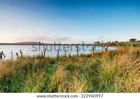 Dozmary Pool, a small natural lake on Bodmin Moor in Cornwall - stock photo