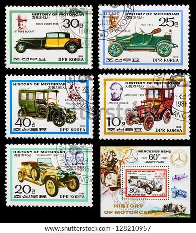 DPR KOREA - CIRCA 1986: A set of postage stamps printed in DPR KOREA shows historic cars, series, circa 1986 - stock photo