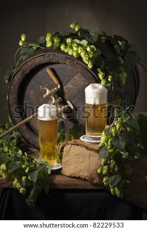 draft beer with hops - stock photo