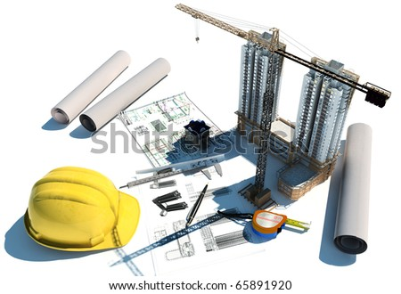 Draft of building on a table - stock photo