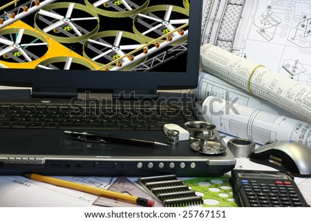 Drafting of mechanical parts. Note display in the monitor is my original works. - stock photo