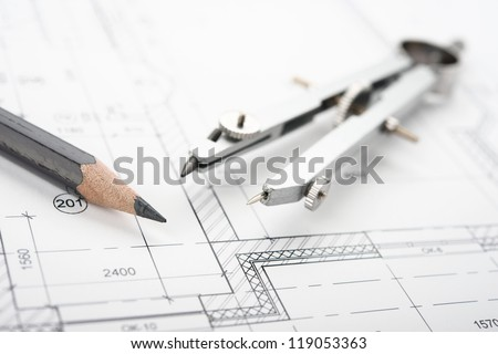 Drafting Tools and blueprint . Pencil etc. - stock photo