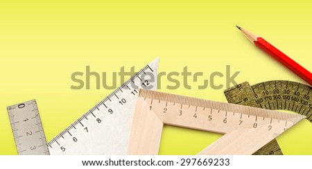 Drafting tools with red pencil in closeup - stock photo