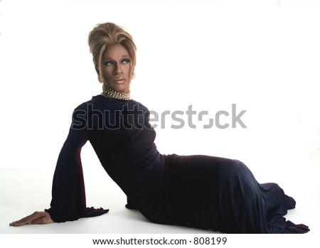 drag artist in a black dress - stock photo