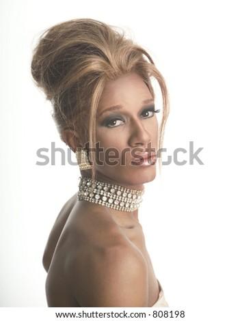 drag artist in diamonds - stock photo