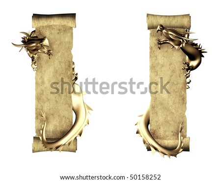 Dragon and scroll of old parchment - stock photo