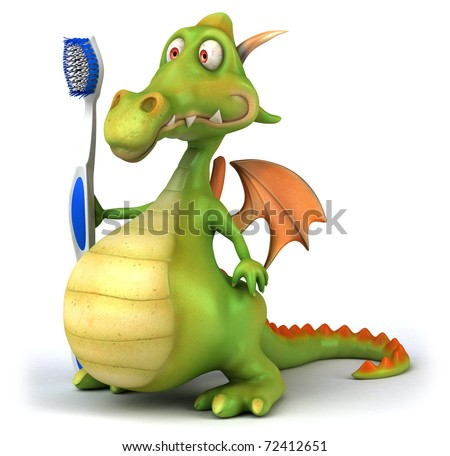 Dragon and toothbrush - stock photo