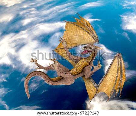 dragon blue sky fall - stock photo
