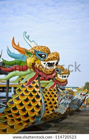 Dragon boat in Hue, Vietnam - stock photo