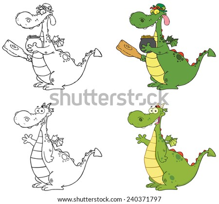 Dragon Cartoon Character. Raster Collection Set - stock photo
