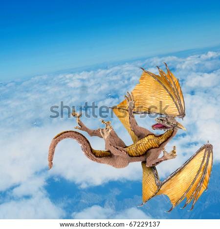 dragon falling on the sky - stock photo