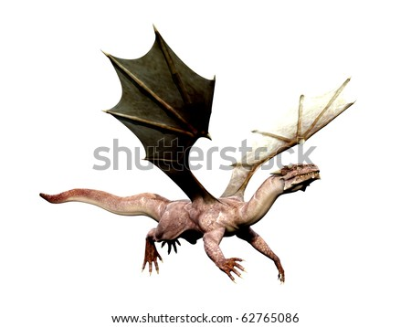 dragon flying out - stock photo