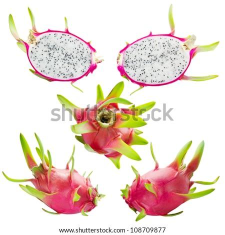 Dragon Fruit isolated on white background - stock photo