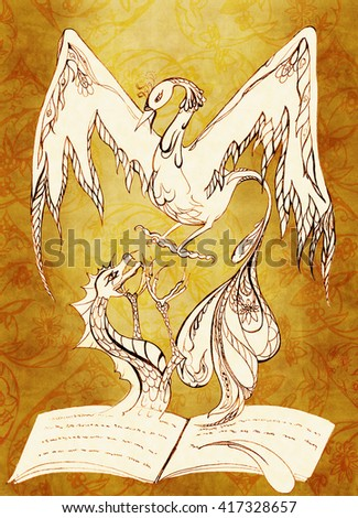 Dragon get out of the notebook and forward on top of him the phoenix. Pencil drawing - stock photo