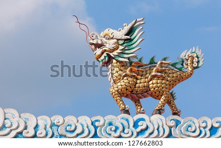 Dragon horse statue on the roof which generally seen in chinese temple, photo taken Thailand - stock photo
