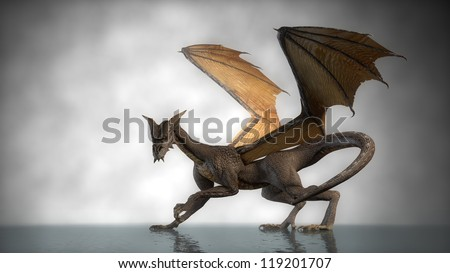 dragon isolated om fog background - stock photo