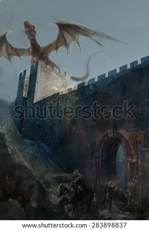 dragon on castle looking at horseman  - stock photo