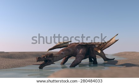 dragon on deserted terrain - stock photo