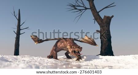 dragon on winter terrain - stock photo