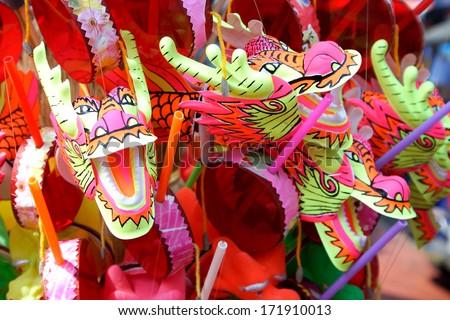 Dragon Puppet Toy. - stock photo