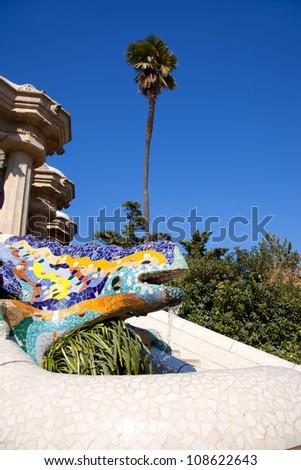 Dragon salamandra of gaudi mosaic in park guell of Barcelona - stock photo