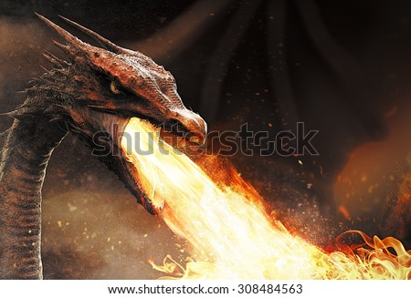 dragon spitting fire - stock photo