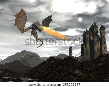 Dragon spitting fire upon old castle by night - 3D render - stock photo