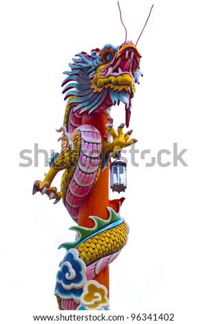 Dragon statue on white background - stock photo