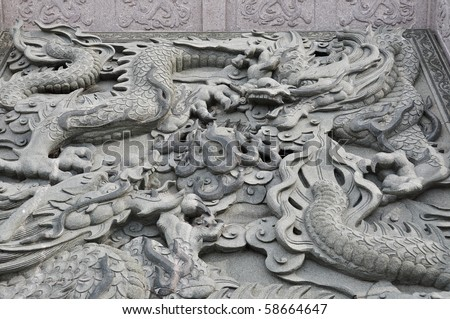 dragon status in chinese temple - stock photo