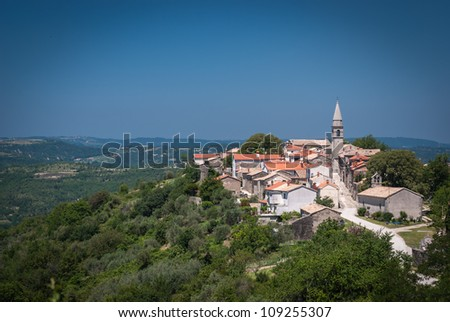 Draguc-small town on a hill in Central Istria,Croatia. - stock photo