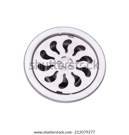 Drain cover isolated on white  with clipping path - stock photo
