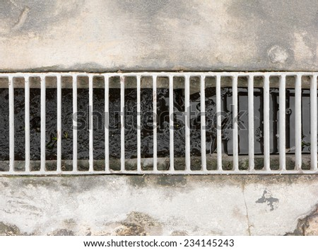Drain gutter in the road - stock photo