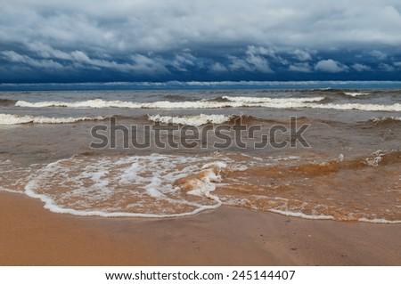 Drama coastal landscape during a storm. - stock photo