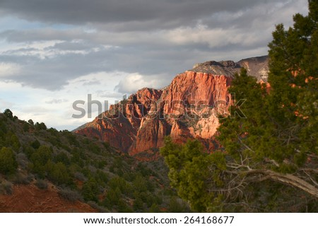 Dramatic and colorful sunset in Kolob - Zion National Park, Utah, USA. - stock photo