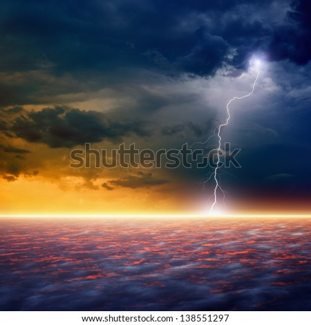 Dramatic apocalyptic background, end of world, bright lightnings, armageddon, hell - stock photo