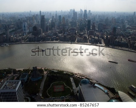 Dramatic Ariel View from the Oriental Pearl TV Tower Shanghai of the River and Shanghai - stock photo