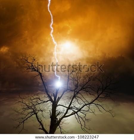 Dramatic background - broken tree struck by lightning from dark sky - stock photo