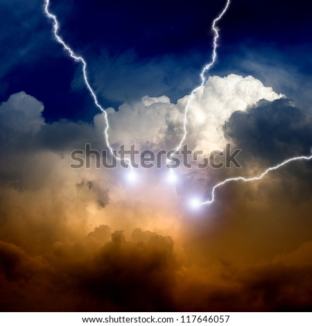 Dramatic background - lightnings in sunset sky with dark clouds - stock photo