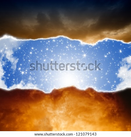 Dramatic background - sun and stars in blue sky, dark red clouds, hell and heaven - stock photo
