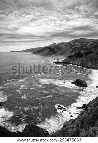 Dramatic Black and White of California Coastline North of Big Sur - stock photo