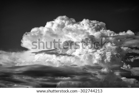 Dramatic Black and White of Thunderhead Cumulus Clouds over Mt. Baldy California - stock photo