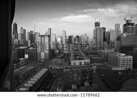 Dramatic Black and White Skyline of Chicago from Condo Balcony - stock photo