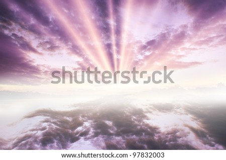 dramatic  blue sunset on a lake background - stock photo